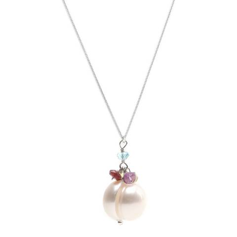 Alexa by Liv Oliver Sterling Silver Gemstone and Pearl Drop Necklace