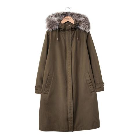 PARKA LONDON Women's Military Green Mina Dip Hem Parka
