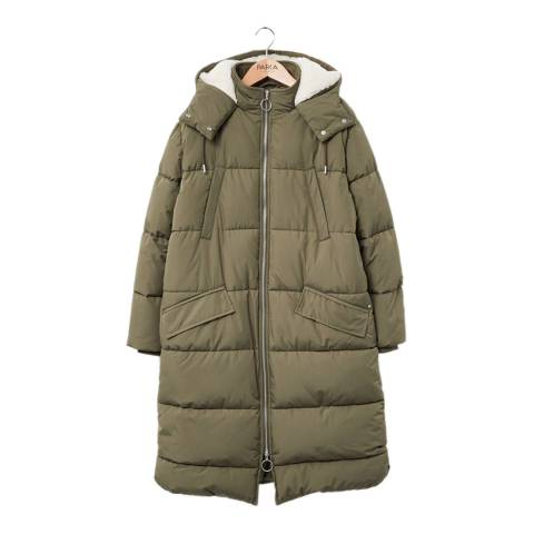 PARKA LONDON Women's Military Green Amelie Long Quilt Parka