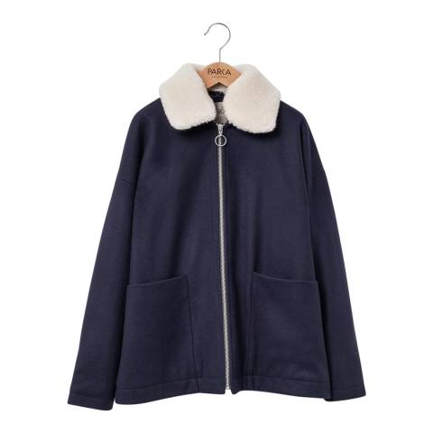 PARKA LONDON Women's Navy Iris Wool Crop Coat