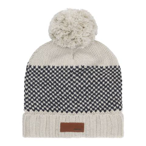 Musto Women's Pale Stone/Navy Fisheye Knit Bobble Wool/Cotton Blend Hat