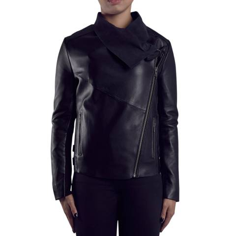Muubaa Black Leather Brindley Drape Front Biker Jacket