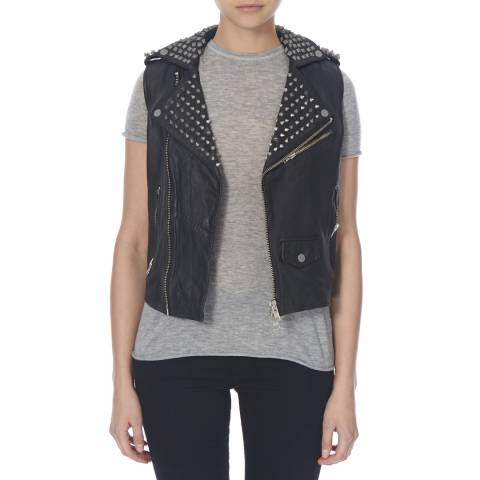 Muubaa Black Leather Voisin Studded Biker Gilet