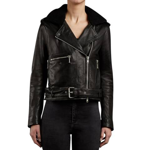 Muubaa Black Leather and Shearling Collar Guilia Biker Jacket