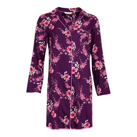 Cyberjammies Pink Anna Woven Long Sleeve Floral Print Nightshirt