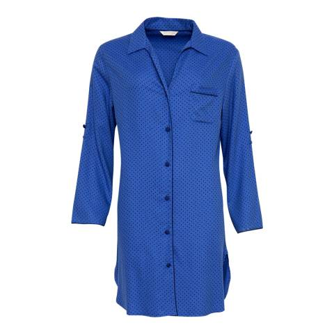 Cyberjammies Blue Sadie Woven Turn up Sleeve Brushed Spot Print Nightshirt