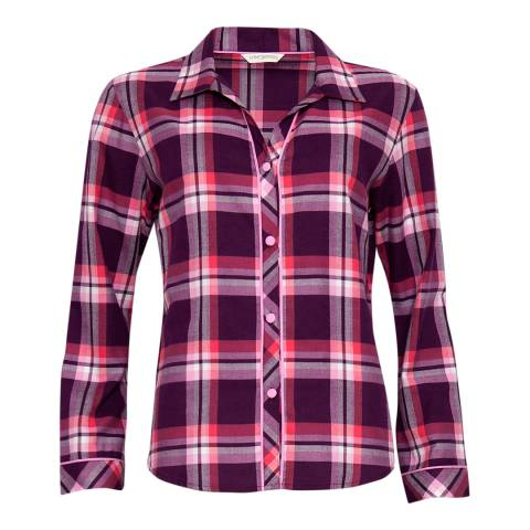 Cyberjammies Pink Anna Woven Long Sleeve Check Pyjama Top