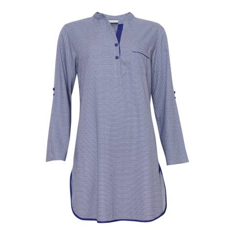 Cyberjammies Blue Connie Woven Turn up Sleeve Spot Print Nightshirt
