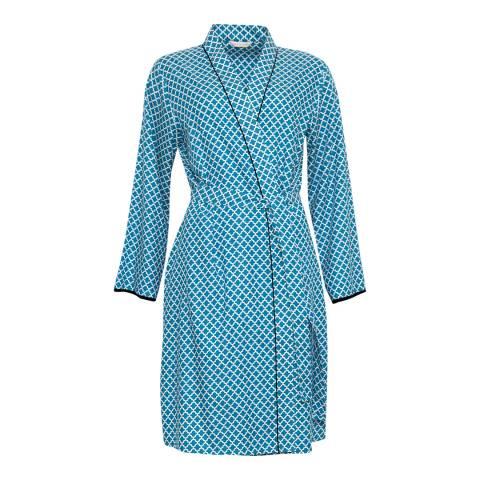 Cyberjammies Blue Clara Woven Long Sleeve Tile Print Short Robe