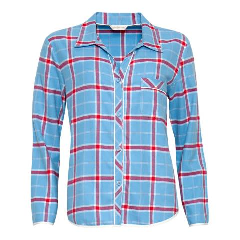 Cyberjammies Blue Wren Woven Long Sleeve Brushed Check Pyjama Top