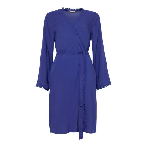 Cyberjammies Blue Connie Woven Long Sleeve Modal Short Robe