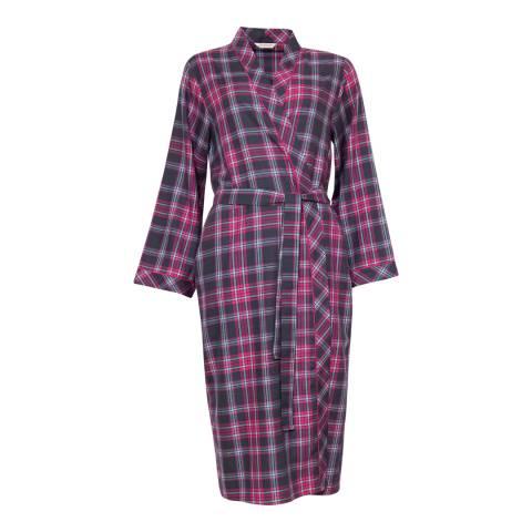 Cyberjammies Pink Bella Woven Long Sleeve Check Long Robe