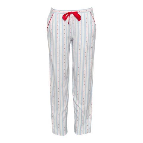 Cyberjammies Blue Wren Woven Heart Dobby Stripe Pyjama Pant