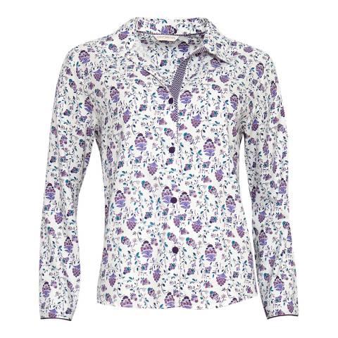Cyberjammies Purple Abigail Woven Long Sleeve Floral Print Pyjama Top