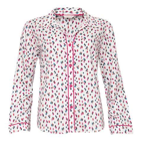 Cyberjammies Pink Bella Woven White Long Sleeve Spot Print Pyjama Top
