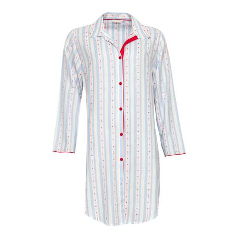 Cyberjammies Blue Wren Woven Long Sleeve Heart Dobby Stripe Nightshirt