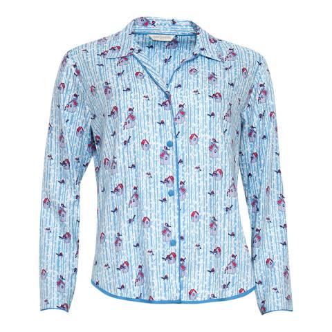 Cyberjammies Blue Wren Woven Long Sleeve Brushed Bird Print Pyjama Top