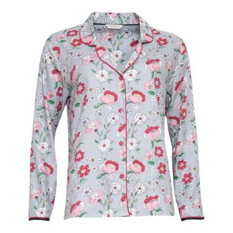 Cyberjammies Blue Faye Woven Long Sleeve Floral Print Pyjama Top