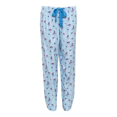 Cyberjammies Blue Wren Woven Brushed Bird Print Pyjama Pant