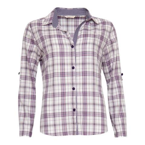 Cyberjammies Purple Abigail Woven Turn up Sleeve Check Pyjama Top
