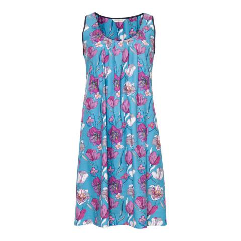 Cyberjammies Blue Bella Woven Built up Shoulder Floral Print Chemise