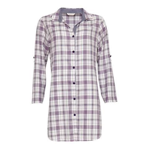 Cyberjammies Purple Abigail Woven Turn up Sleeve Check Nightshirt