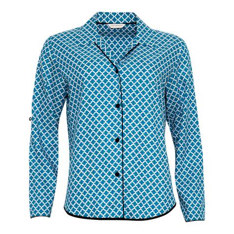 Cyberjammies Blue Clara Woven turn up Sleeve Tile Print Pyjama Top
