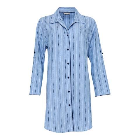 Cyberjammies Blue Josie Woven Turn up Sleeve Spot Dobby Stripe Nightshirt