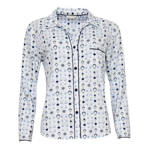 Cyberjammies White Josie Woven Long Sleeve White Geo Print Pyjama Top