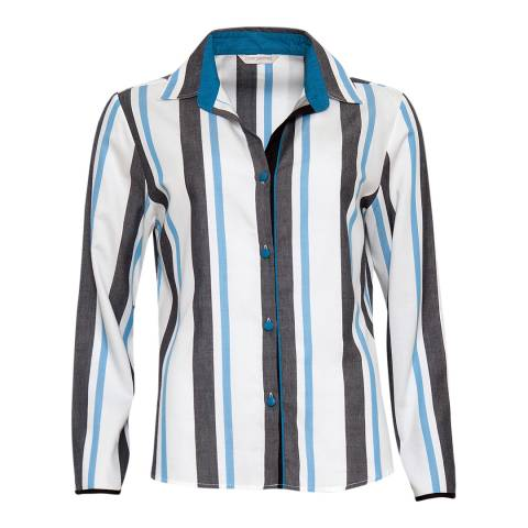 Cyberjammies Blue Clara Woven Long Sleeve Stripe Pyjama Top