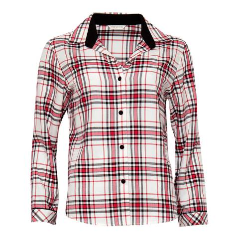 Cyberjammies Red Pandora Woven Long Sleeve Brushed Check Pyjama Top