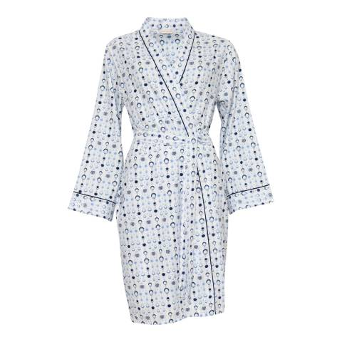 Cyberjammies White Josie Woven Long Sleeve White Geo Print Short Robe