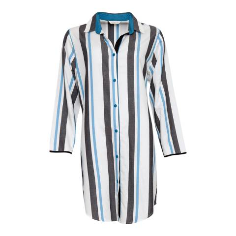 Cyberjammies Grey Clara Woven Long Sleeve Stripe Nightshirt