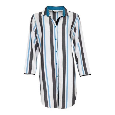 Cyberjammies Blue Clara Woven Long Sleeve Stripe Nightshirt
