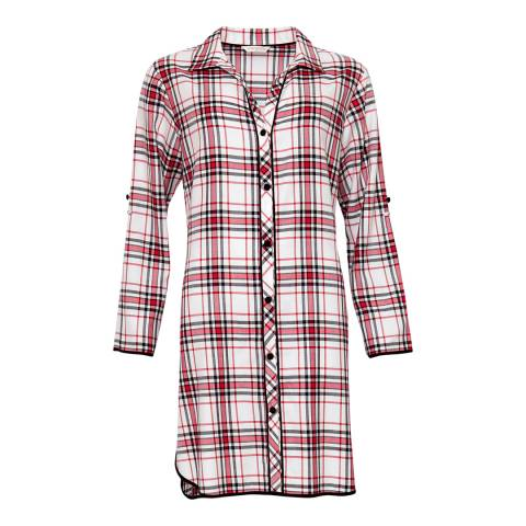 Cyberjammies Red Pandora Woven Turn up Sleeve Brushed Check Nightshirt