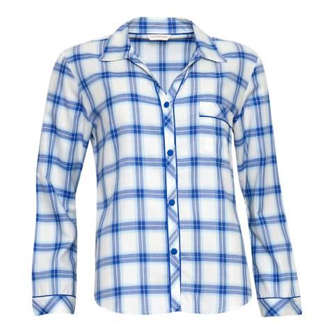 Cyberjammies Blue Maya Woven Long Sleeve Check Pyjama Top