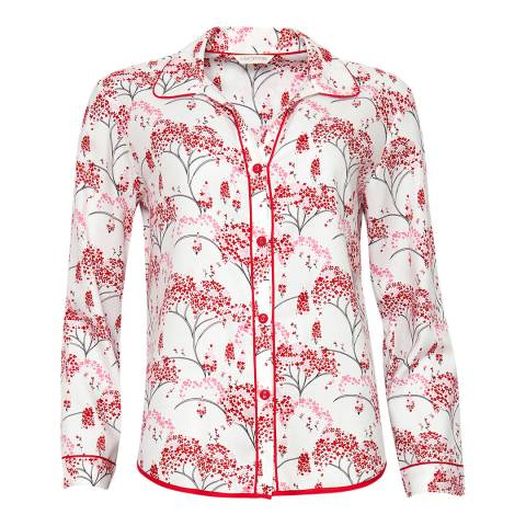 Cyberjammies Red Erin Woven Long Sleeve Brushed Floral Print Pyjama Top