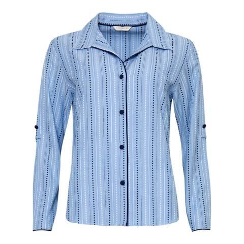 Cyberjammies Blue Josie Woven Turn up Sleeve Spot Dobby Stripe Pyjama Top