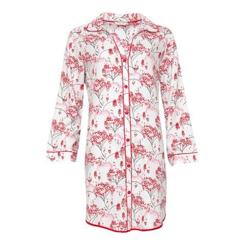 Cyberjammies Red Erin Woven Long Sleeve Brushed Floral Print Nightshirt