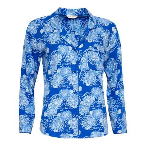 Cyberjammies Blue Maya Woven Long Sleeve Floral Print Pyjama Top