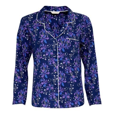 Cyberjammies Blue Sadie Woven Long Sleeve Brushed Floral Print Pyjama Top