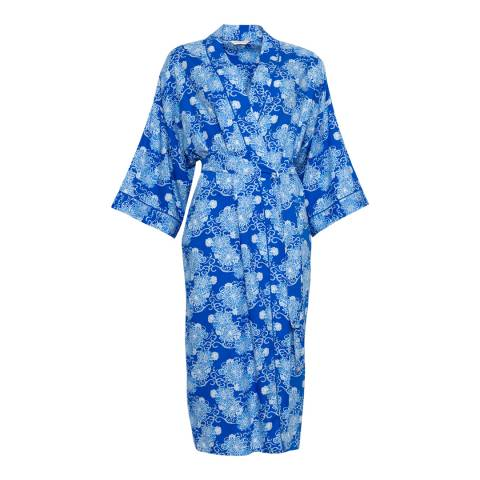 Cyberjammies Blue Maya Woven Long Sleeve Floral Print Long Robe