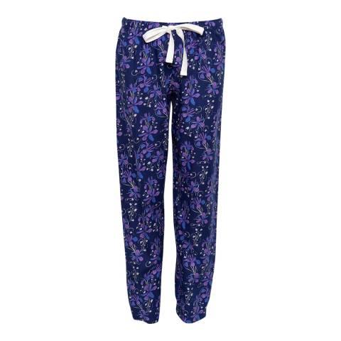 Cyberjammies Blue Sadie Woven Brushed Floral Print Pyjama Pant
