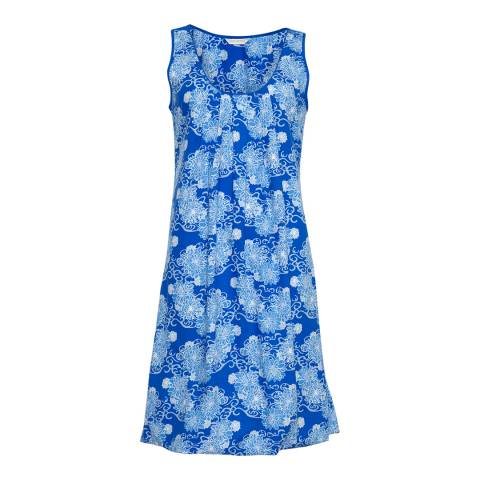 Cyberjammies Blue Maya Woven Built up Shoulder Floral Print Chemise