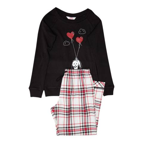 Minijammies Girls Red Pandora Placement Print Knit Long Sleeve Top and Woven Brushed Check Pyjama Set