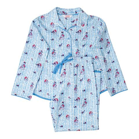 Minijammies Girls Blue Wren Woven Bird Print Brushed Long Sleeve Pyjamas