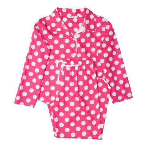 Minijammies Girls Pink Molly Woven Turn up Sleeve Spot Print Pyjamas