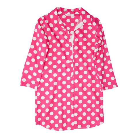 Minijammies Girls Pink Molly Woven Turn up Sleeve Spot Print Nightshirt