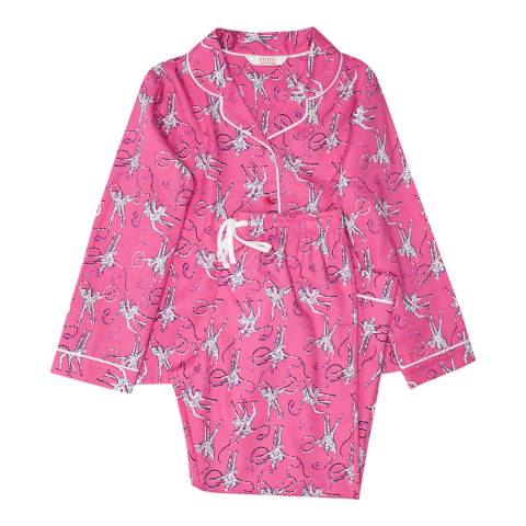 Minijammies Girls Pink Molly Woven Long Sleeve Ballerina Print Pyjamas