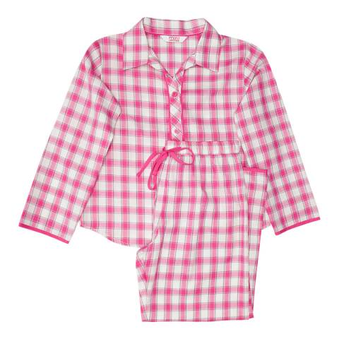 Minijammies Girls Pink Molly Woven Long Sleeve Check Pyjamas